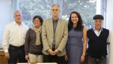 O coordenador da CCPG, prof. Paulo César Duque Estrada, e equipe: Jorge dos Santos, Célia Maria de Souza Pereira, Ana Zélia Saboia Martins e Nilton do Rosário Vollotão.