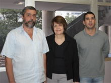 A coordenadora da CVEST, profa. Marta de Souza Lima Velasco, e equipe: Paulo dos Santos Albuquerque e Vitor dos Santos Damiani.