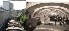 Na foto da esquerda, a vista externa do bloco de laboratórios do ITUC, ao lado do Edifício Cardeal Leme. Na foto da direita o ITUC na época da inauguração e ainda sem as divisórias hoje existentes. Fotógrafo Antônio Albuquerque. Acervo do Núcleo de Memória.