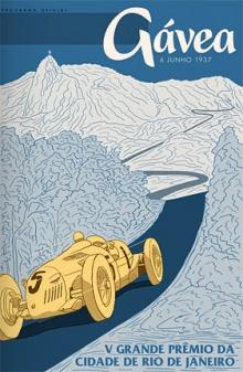 Cartaz que anuncia o 5º Grande Prêmio do Circuito da Gávea em 1937.