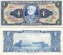 Verso e reverso de uma nota de CR$1,00.