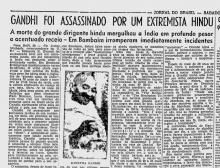Notícia publicada no Jornal do Brasil sobre a morte de Gandhi.