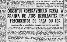 Notícia publicada no Jornal do Brasil sobre a aprovação da Lei Afonso Arinos.
