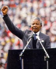 Nelson Mandela em seu discurso de posse da presidência.