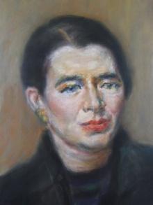 Retrato de Marguerite Yourcenar, pastel por Charlotte Musson.  1975.