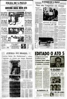 Capa dos principais jornais registrando a edição do AI-5