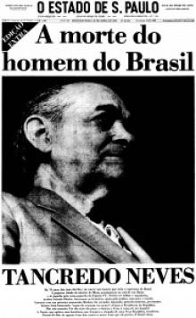 Primeira página do jornal Estado de São Paulo anuncia a morte de Tancredo Neves.