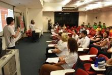 Instruções às equipes, no auditório do IAG. Fotógrafo Antônio Albuquerque.