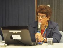 A Profa. Vera Candau durante a Aula Inaugural, realizada no Auditório Padre Anchieta. Fotógrafa Flávia Espíndola. Acervo do Projeto Comunicar.