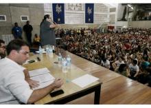 Flávio Bolsonaro e Tarcísio Motta no Ginásio Poliesportivo da PUC-Rio. Fotógrafo Fabio Gonçalves. Agência O Dia.