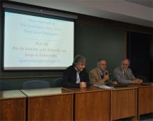 Fala do Reitor Prof. Pe. Josafá S.J. durante o evento. Fotógrafo Antônio Albuquerque. Acervo do Núcleo de Memória.