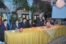 O Reitor Prof. Pe. Josafá S.J. discursa na cerimônia de inauguração do Instituto Confucius. Fotógrafo Antônio Albuquerque. Acervo do Núcleo de Memória.