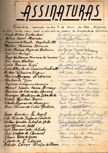 Página com algumas das assinaturas de adesão ao Código de Honra.