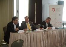 Na foto, Juliano Assunção (NAPC/PUC-Rio), Thomas Heller (Climate Policy Initiative São Francisco) e Eduardo Assad (Ministério do Meio Ambiente). Acervo do Núcleo de Avaliação de Políticas Climáticas.