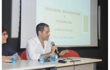 O Prof. Kessler durante a palestra realizada na sala K102. Fotógrafo Antônio Albuquerque. Acervo Núcleo de Memória.