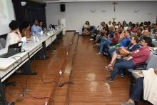 Mesa de abertura do evento, no auditório Padre Anchieta. Fotógrafo Antônio Albuquerque.