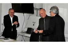 O Reitor Pe. Josafá S.J., o Prof. Karl Erik e o Vice-Reitor Acadêmico Prof. José Ricardo Bergmann. Fotógrafa Fernanda Szuster. Acervo Comunicar.