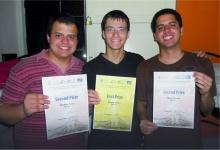 Alunos premiados na International Mathematics Competition for University Students. Acervo do Projeto Comunicar.