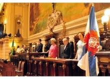 Mesa com representantes da Câmara de Vereadores e da PUC-Rio. Fotógrafo Matheus Salgado. Acervo Projeto Comunicar.