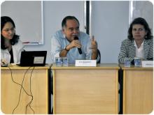 Fala do prof. Luiz Roberto Azevedo Cunha, Decano do CCS. Fotógrafo Lucas Terra. Acervo do Portal PUC-Rio Digital.