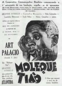 Anúncio do filme Moleque Tião.