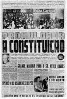 Primeira página do Jornal Folha Carioca que anuncia a promulgação da Constituição de 1946.