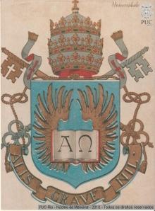 Novo brasão, após a elevação à Pontfícia Universidade Católica.