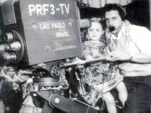 Sonia Maria Dorce e Walter Tasca, que foi o primeiro camera-man daTV Tupi, em 1950.