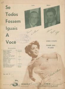 Partitura de Se todos fossem iguais a você, com Angela Maria, Tom e Vinícius na capa e lista dos principais intérpretes.