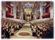 Abertura do Concílio Vaticano II na Basílica de São Pedro em Roma.