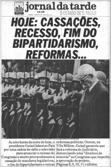 Página principal do Jornal O Estado de São Paulo de 1 de abril de 1977.
