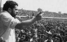 Lula no palanque do ABC Paulista.
