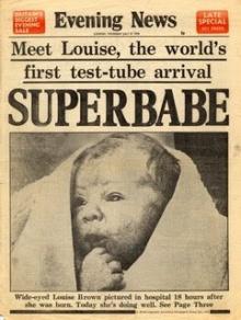 Jornal inglês anuncia o nascimento do primeiro bebê de proveta.