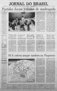 Manchete do Jornal do Brasil que anuncia a extinção dos partidos políticos.