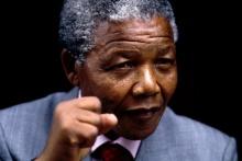 O lider sulafricano Nelson Mandela em 1990.