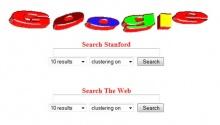 Tela de entrada da primeira versão do Google, ainda hospedado no site da Universidade de Stanford.