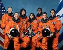 A tripulação do ônibus espacial Columbia.