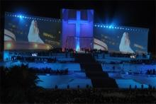 Altar principal durante a Via Crucis na Praia de Copacabana, com a presença do Papa Francisco, em 26/07/2013. Fotógrafo Antônio Albuquerque. Acervo do Núcleo de Memória.