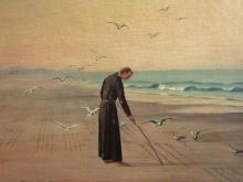O pintor Benedito Calixto retrata o jesuíta José de Anchieta escrevendo o Poema à Virgem. Foto: divulgação/Museu de Anchieta