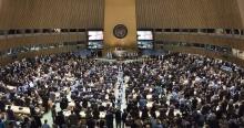 Cerimônia de assinatura do Acordo, na ONU, em Nova York. Fotógrafo Mark Garten/UN Photo. Fonte: www.observatoriodoclima.eco.br