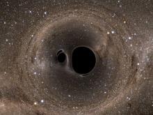 Simulação ilustra colisão de buracos negros como aquela detectada pelo projeto Ligo. Fonte: LIGO Laboratory/MIT/Caltech/Reuters