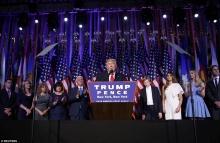 Discurso da vitória de Trump, em Nova York. Fonte: Reuters/www.dailymail.co.uk