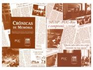 Capa e contra-capa do livro Crônicas de memória: publicadas pelo Núcleo de Memória no Jornal da PUC.