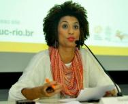 Marielle Franco em evento na PUC-Rio, em 26/05/2017. Fotógrafo Matheus Aguiar. Acervo Comunicar.