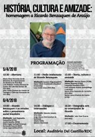 Cartaz do Seminário História, Cultura e Amizade: Homenagem a Ricardo Benzaquen de Araújo