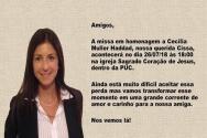 Convite da missa em homenagem a Cecilia Muller Haddad.