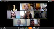 Equipe do Núcleo de Memória em reunião via Zoom, 24/03/2020.