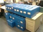 Todo o material veio acondicionado em caixas identificadas, a exceção de um pacote de documentos de grandes dimensões.