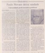 Obituário do prof. Paulo Novaes, Jornal da PUC, 15/08/2006, p.3.