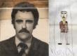 O Prof. Walmer Jacintho Soares, em foto da ficha funcional e em desenho de Fabrício Eyler.